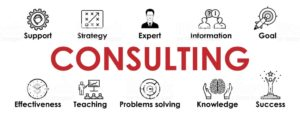 Illustration of Consulting with web Icons set for websites and social media business design: Support, Strategy, Expert, Goal, Teaching, Knowledge, Success, Problems solving, Effectiveness. Vector.